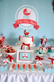 Gender-neutral-aqua-red-baby-carriage-shower-via-Karas-Party-Ideas-karaspartyideas.com-gender-neutral-baby-shower-ideas-1